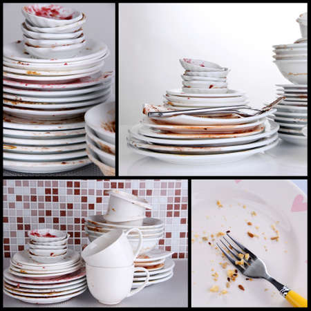 unwashed: Collage of dirty dishes