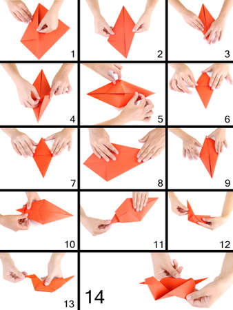 step by step: Origami paper bird. Instructions for assembly Stock Photo
