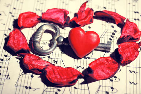 music book: Retro key with heart of rose petals on music book background