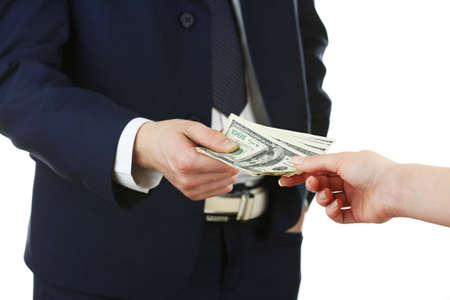 paying money: Businessman paying money isolated on white