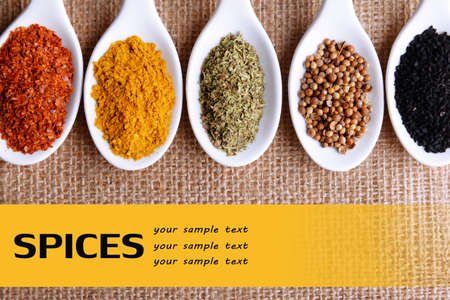 kinds: Different kinds of spices in ceramics spoons, on sackcloth background Stock Photo