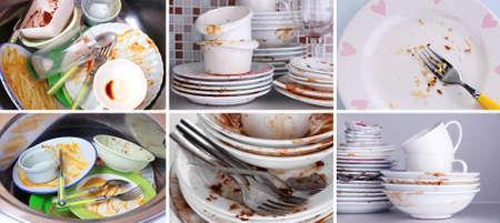 lavar trastes: Collage de platos sucios