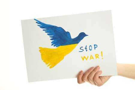 overturn: Hand holding paper dove with painted Ukraine flag, isolated on white