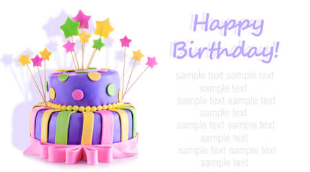 room card: Delicious birthday cake isolated on white Stock Photo