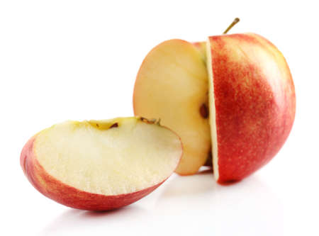 at close quarters: Sliced apple isolated on white
