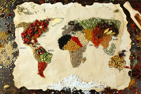 wood trade: Map of world made from different kinds of spices on wooden background