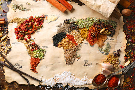 dried spice: Map of world made from different kinds of spices on wooden background