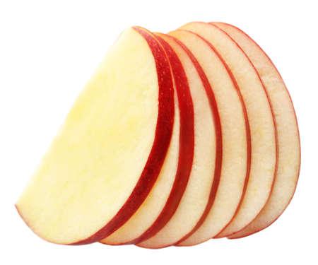 manzana roja: Manzana en rodajas aislado en blanco Foto de archivo