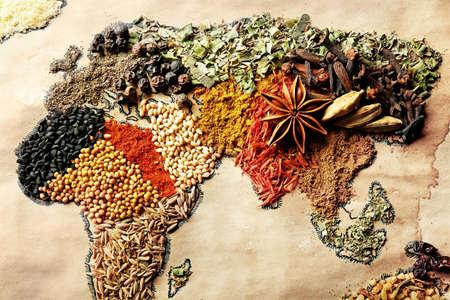 다른 종류의 향신료, 근접에서 만든 세계의지도 스톡 콘텐츠