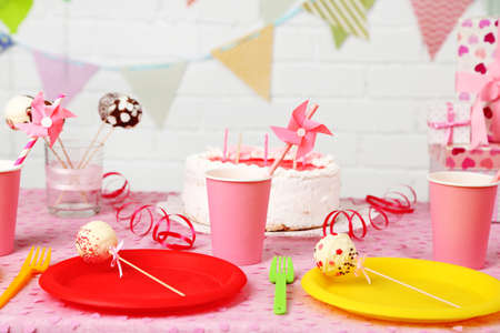 Prepared birthday table for children party photo