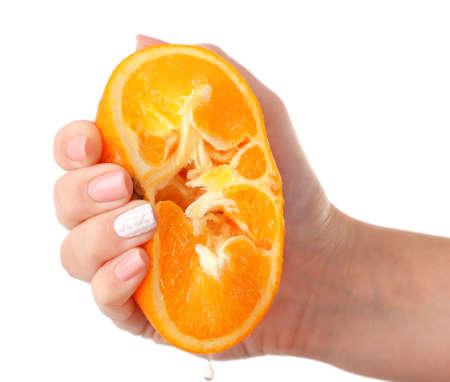 squeezing: Female hand squeezing orange isolated on white