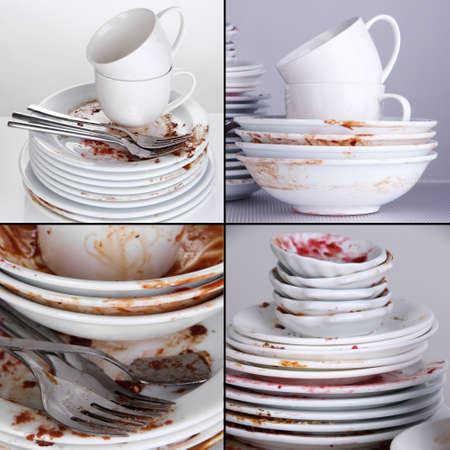 Collage of dirty dishes photo