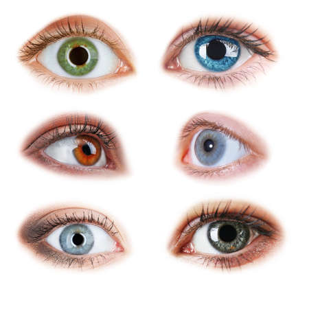 without people: Collage of beautiful female eyes, isolated on white