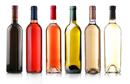 bordeaux: Wine bottles in row isolated on white