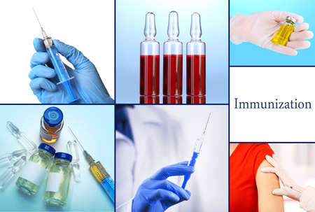 vaccination: Vaccination collage Stock Photo