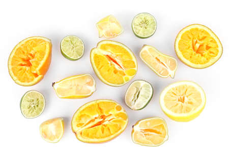 squeezed: Squeezed citrus fruits isolated on white Stock Photo