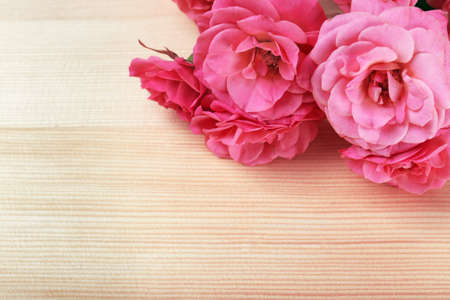 text pink: Beautiful roses on wooden table background