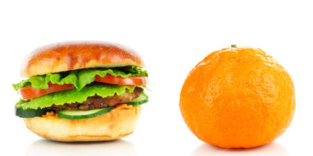 unhealthy lifestyle: Healthy and unhealthy food.