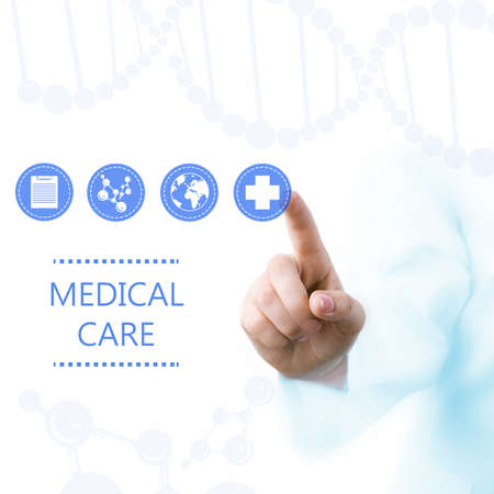medical technology: Medical doctor working with healthcare icons. Modern medical technologies concept Stock Photo