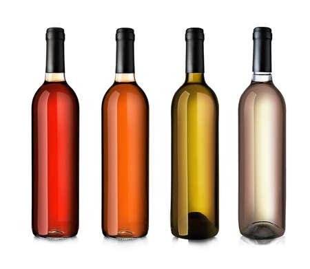 bottle wine: Wine bottles in row isolated on white