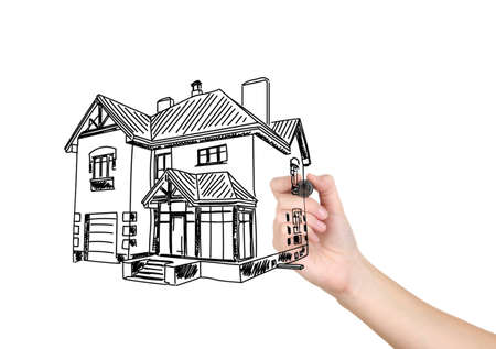 detached house: Human hand drawing house sketch project isolated on white Stock Photo