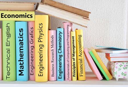 specialization: Textbooks on shelf close-up