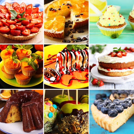 candied fruits: Delicious desserts collage Stock Photo