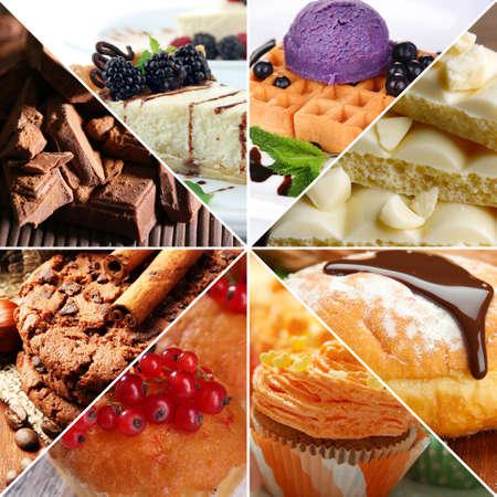 Delicious desserts collage photo