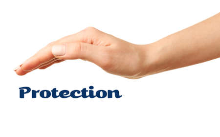 care providers: Female hand with protection isolated on white