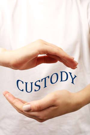 in custody: Female hands with word custody on light background