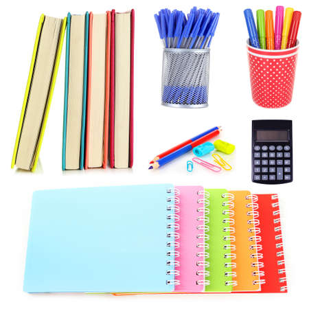 scores: Bright school stationery, isolated on white Stock Photo