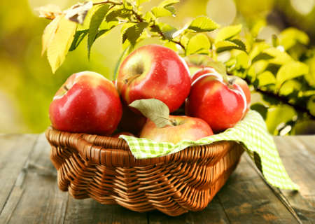 basket: Wicker basket of red apples with napkin on nature background Stock Photo