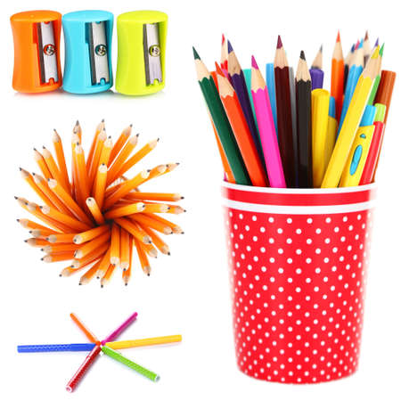 stationery set: Bright school stationery, isolated on white Stock Photo