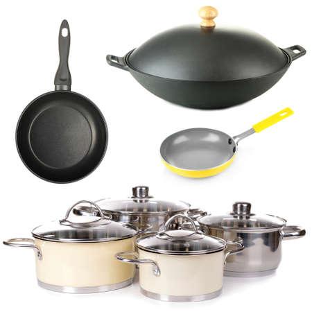 fryingpan: Kitchen utensils isolated on white