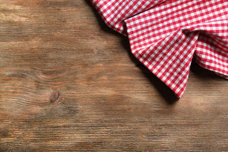 dishcloth: Napkin on wooden table