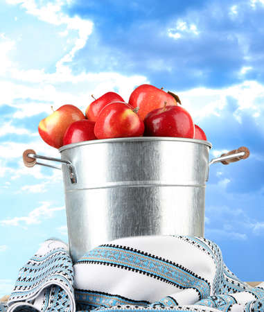 dishcloth: Pail filled with red apples and dishcloth on sky background