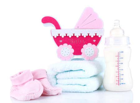 teteros: equipamiento para bebés aislados en blanco Foto de archivo