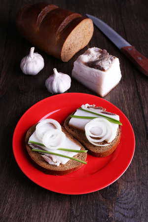 lard: Sandwiches with lard on plate and garlic on wooden background
