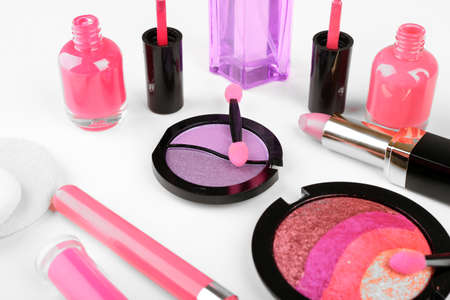 Different cosmetics close up photo
