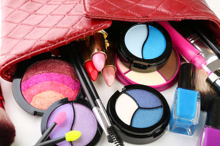 cosmetics bag: Different cosmetics in cosmetician close up