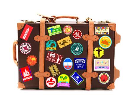 Travel suitcase isolated on white Standard-Bild
