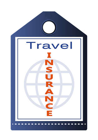 necessity: Travel insurance tag isolated on white