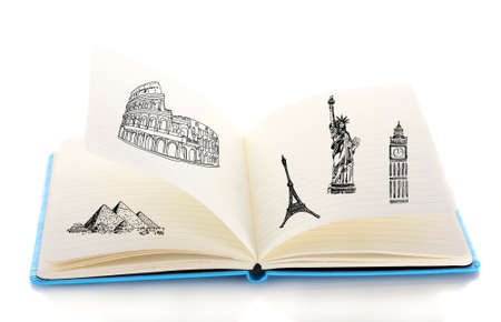directory book: Open book with drawings isolated on white Stock Photo