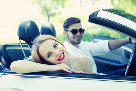 cabriolet: Young couple in cabriolet, outdoors