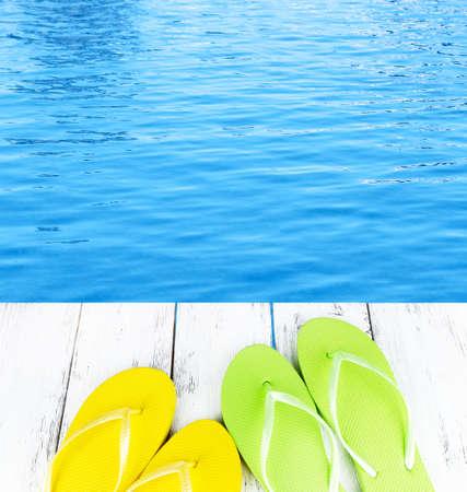 waterpool: Colorful flip-flops on wooden boardwalk
