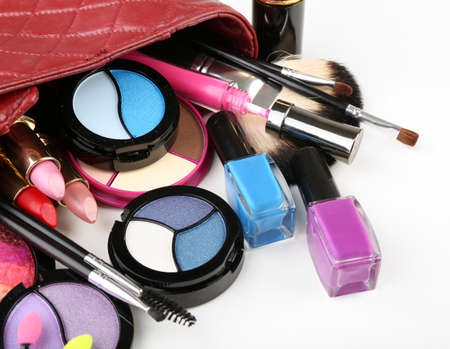 cosmetician: Different cosmetics in cosmetician isolated on white Stock Photo