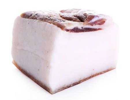 lard: Piece of salted lard isolated on white