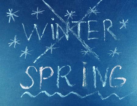 goodbye: Goodbye Winter hello Spring written on board
