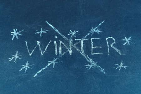 goodbye: Goodbye Winter written on board Stock Photo