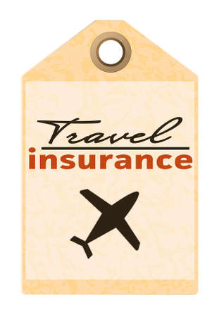 insurer: Travel insurance tag isolated on white